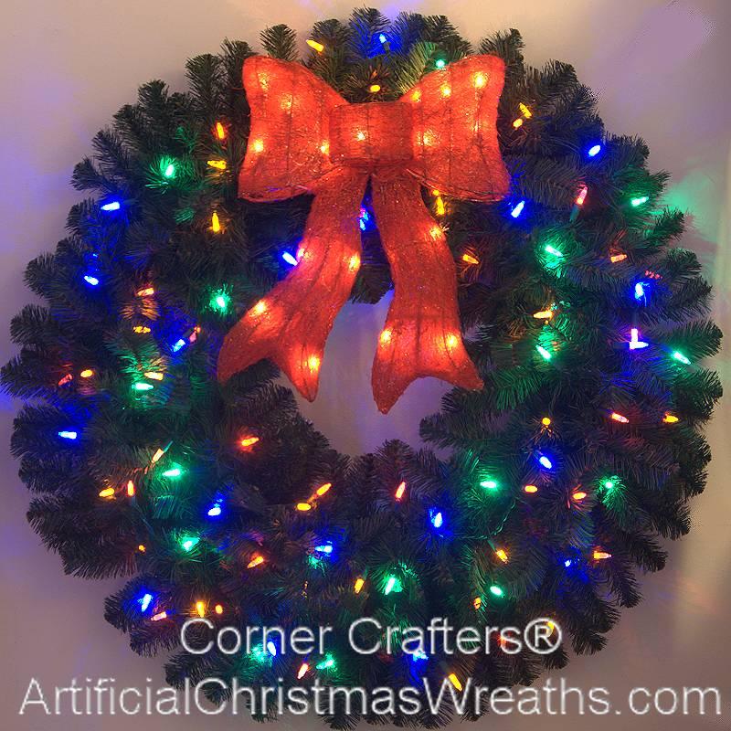 Foot color changing l e d prelit christmas wreath