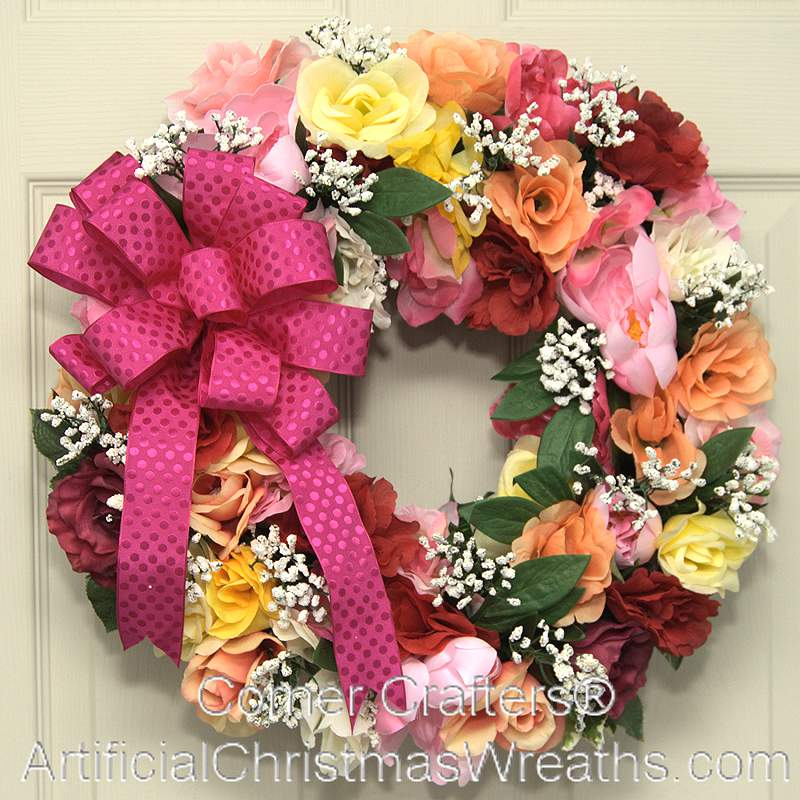Roses For Mom Wreath Artificialchristmaswreaths Com