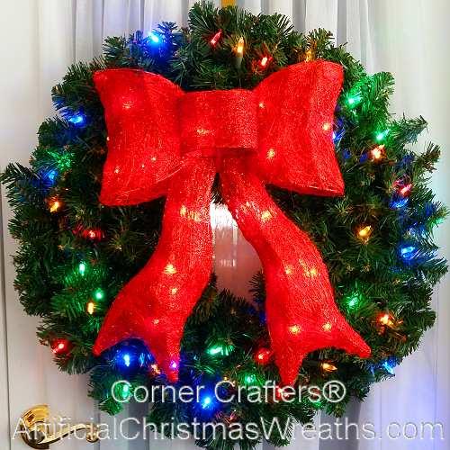 24 Color Changing L E D Prelit Christmas Wreath