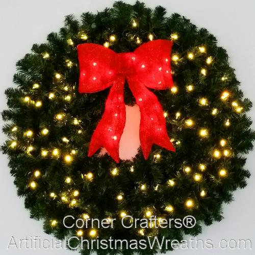 Artificial Christmas Wreaths.3 Foot 36 Inch Inc Christmas Wreath With Pre Lit Red Bow