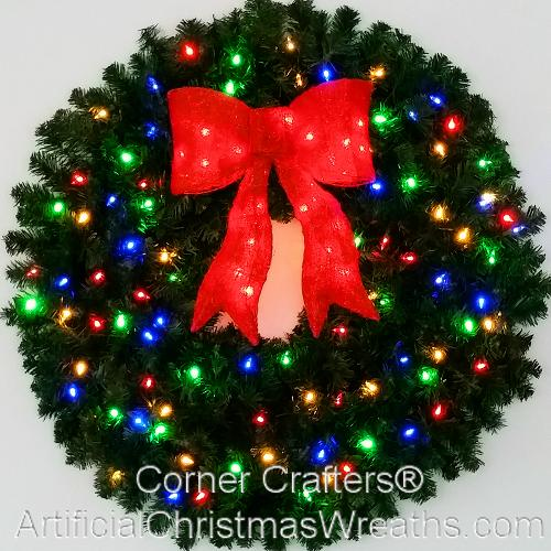 3 Foot (36 Inch) Color Changing L.E.D. Prelit Christmas Wreath With Pre Lit  Red Bow
