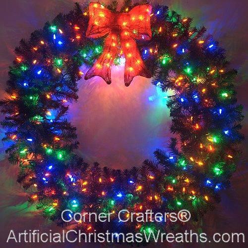 4 Foot Color Changing L.E.D. Prelit Christmas Wreath - 4 FOOT DELUXE COLOR CHANGING LED PRELIT CHRISTMAS WREATH