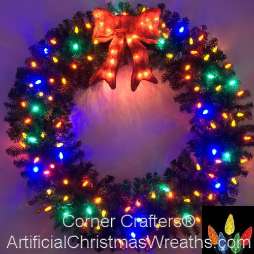 4 FOOT MULTI COLOR L E D CHRISTMAS WREATH  - Christmas Wreath Lights