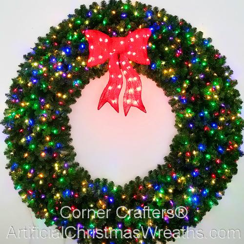 6 foot 72 inch multi color led christmas wreath with pre lit red bow