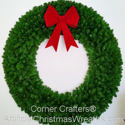 6 foot 72 inch christmas wreath without lights with large red bow