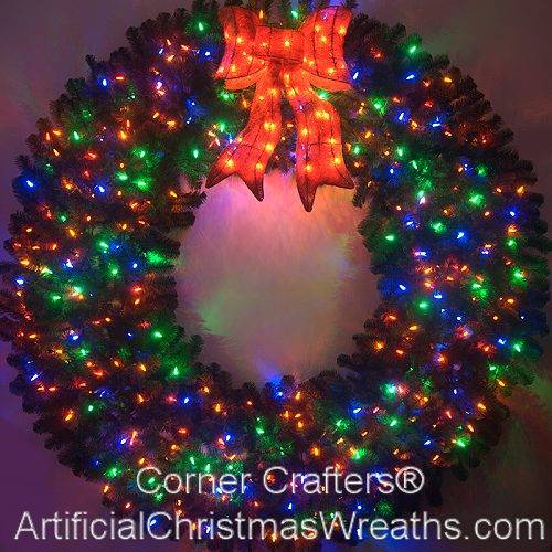6 Foot (72 inch) Color Changing L.E.D. Prelit Christmas Wreath