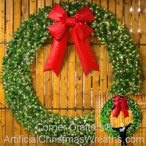 Artificial Christmas Wreaths.8 Foot 96 Inch L E D Christmas Wreath With Large Red Bow
