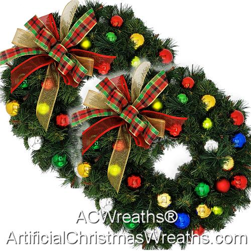 christmas accent wreaths - Artificial Christmas Wreaths Decorated