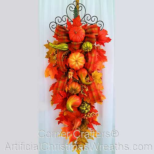 Autumn Teardrop Swag Artificialchristmaswreaths Com