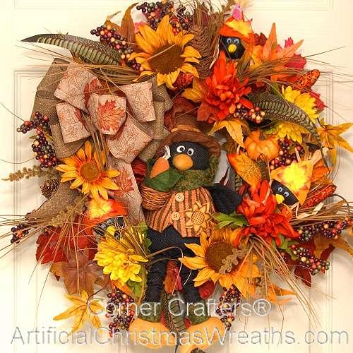 Friendly Crow Fall Wreath