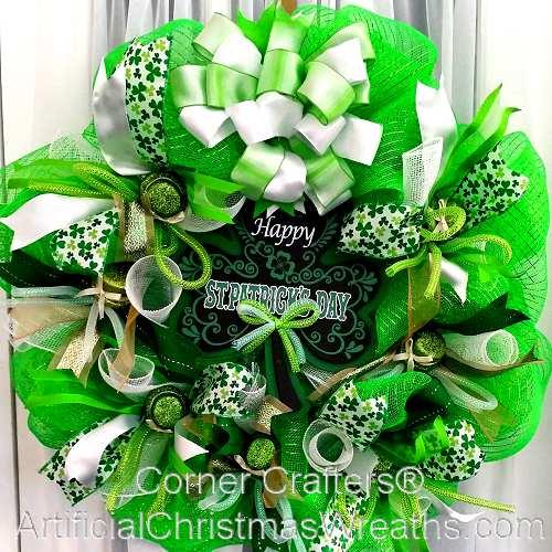 deco mesh st patrick 39 s day wreath irish decorations gifts. Black Bedroom Furniture Sets. Home Design Ideas