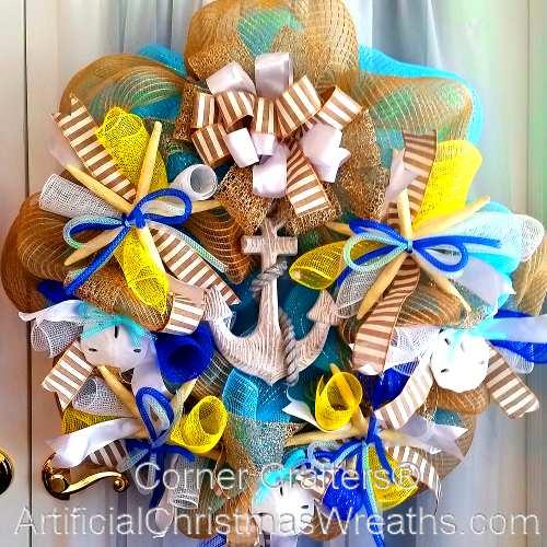 Deco Mesh Summer Wreath Artificialchristmaswreaths Com