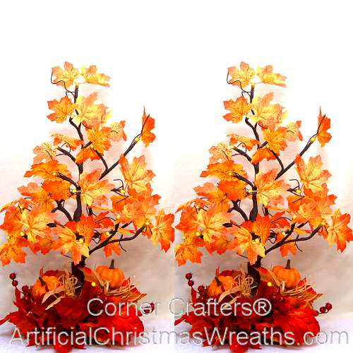 Lovely FALL PRE-LIT LED MAPLE TREES | ArtificialChristmasWreaths.com  HA33