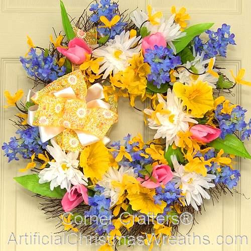 Forsythia & Daisy Spring Wreath