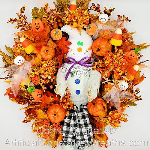 Friendly Halloween Ghost Wreath