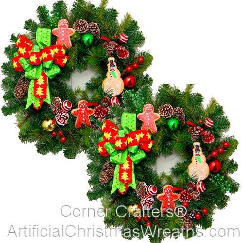Artificial Christmas Wreaths.Gingerbread Man Accent Wreaths