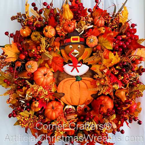 Thanksgiving turkey wreath artificialchristmaswreaths Happy thanksgiving decorations