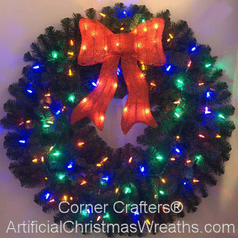 3 foot color changing led prelit christmas wreath - Christmas Wreaths With Lights