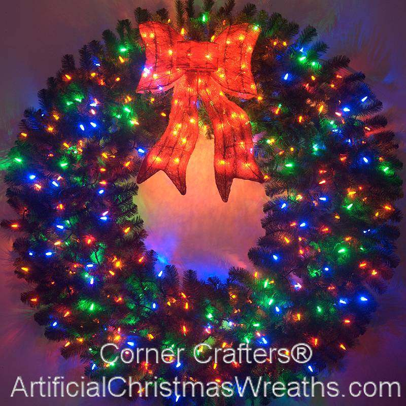 5 foot color changing led prelit christmas wreath - Christmas Wreaths With Lights