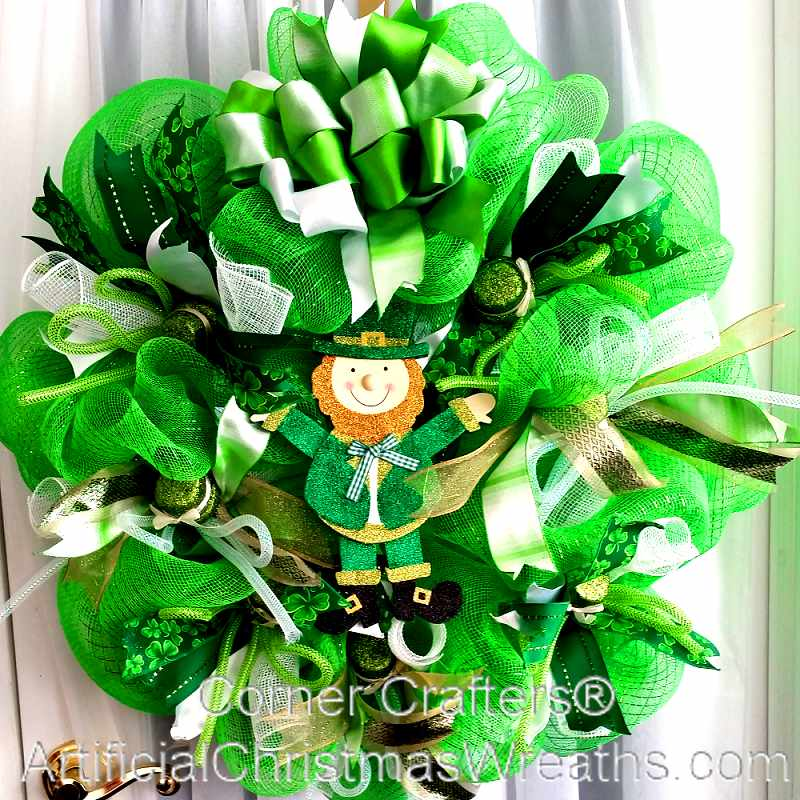 deco mesh st patrick 39 s day wreath irish decorations gifts. Black Bedroom Furniture Sets. Home Design Ideas