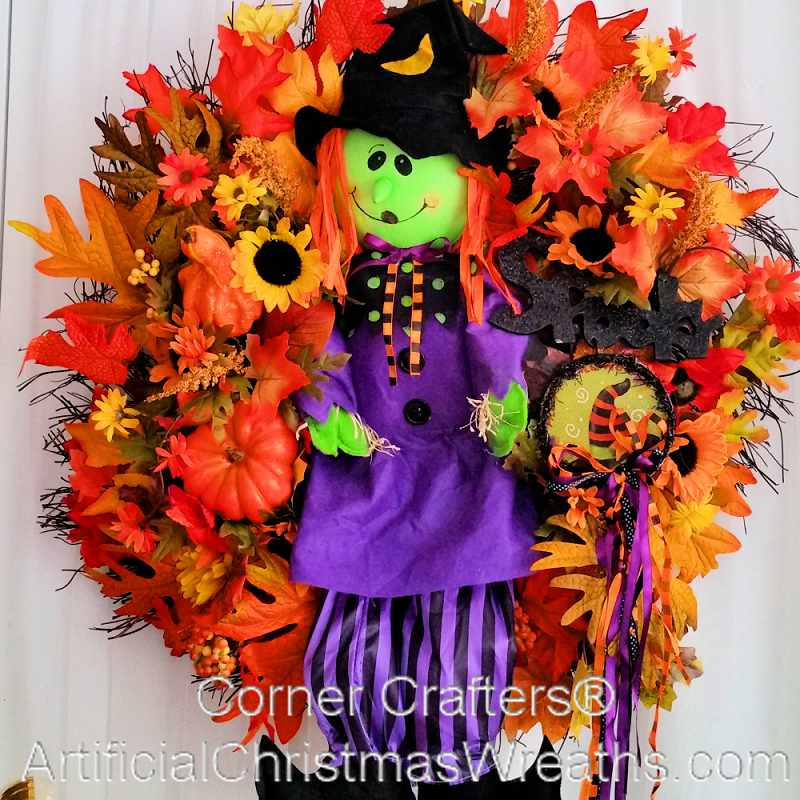 ... WITCH WREATH  ArtificialChristmasWreaths.com  HALLOWEEN DECORATIONS