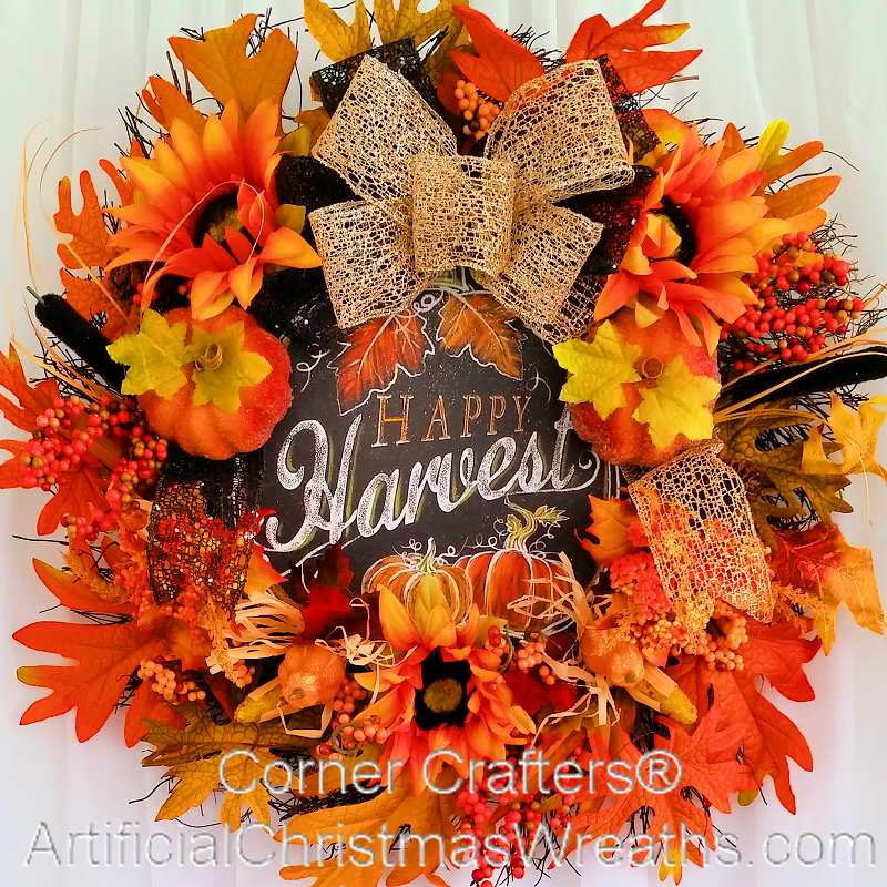 Happy Harvest Autumn Wreath Artificialchristmaswreaths