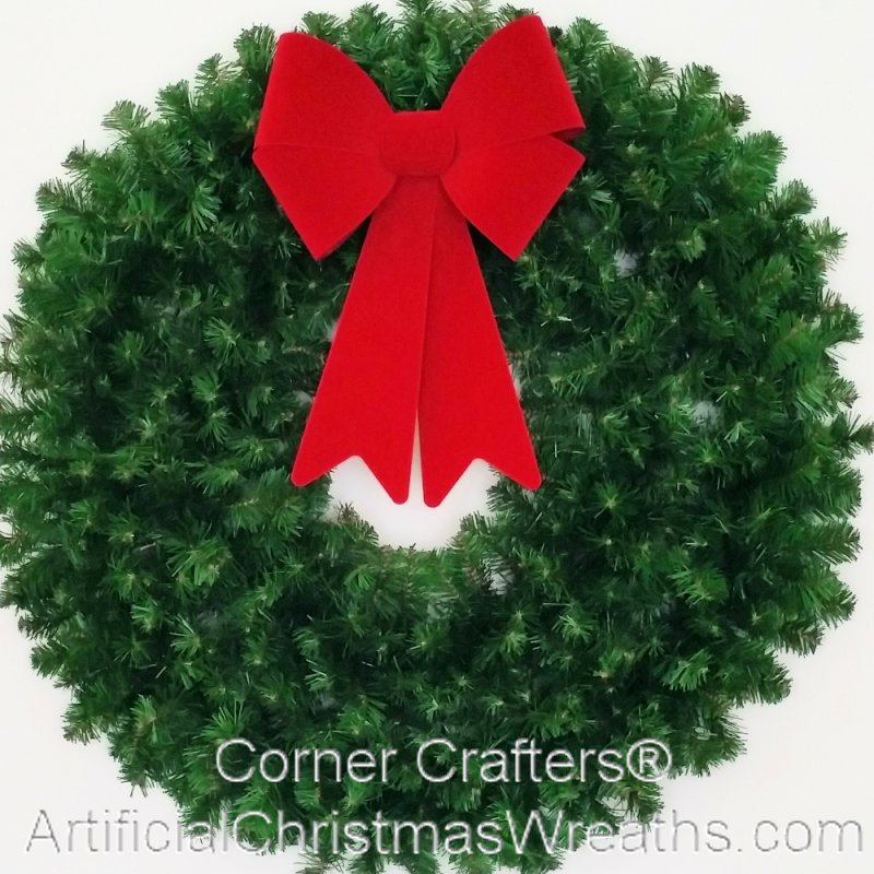 3 Foot 36 Inch Christmas Wreath Without Lights With Large Red Bow