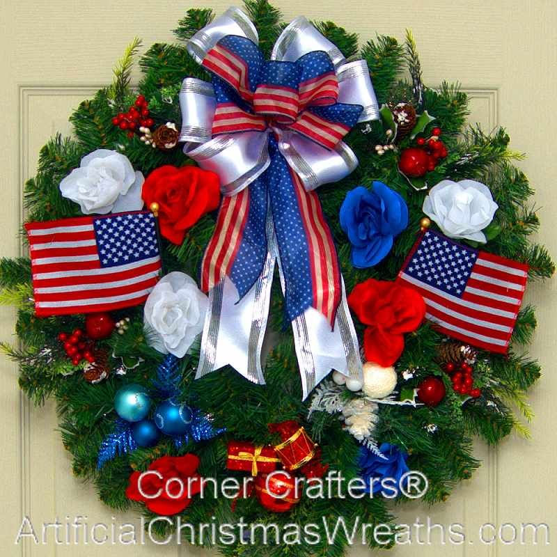 Patriotic Christmas.Patriotic Christmas Wreath