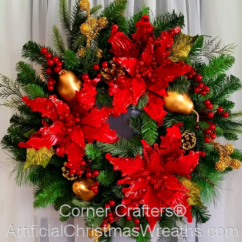 Poinsettia Wreath Artificialchristmaswreaths Com