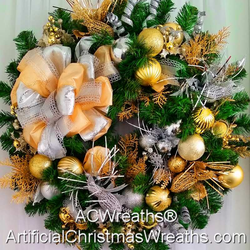 SILVER AND GOLD CHRISTMAS WREATH | ArtificialChristmasWreaths.com ...