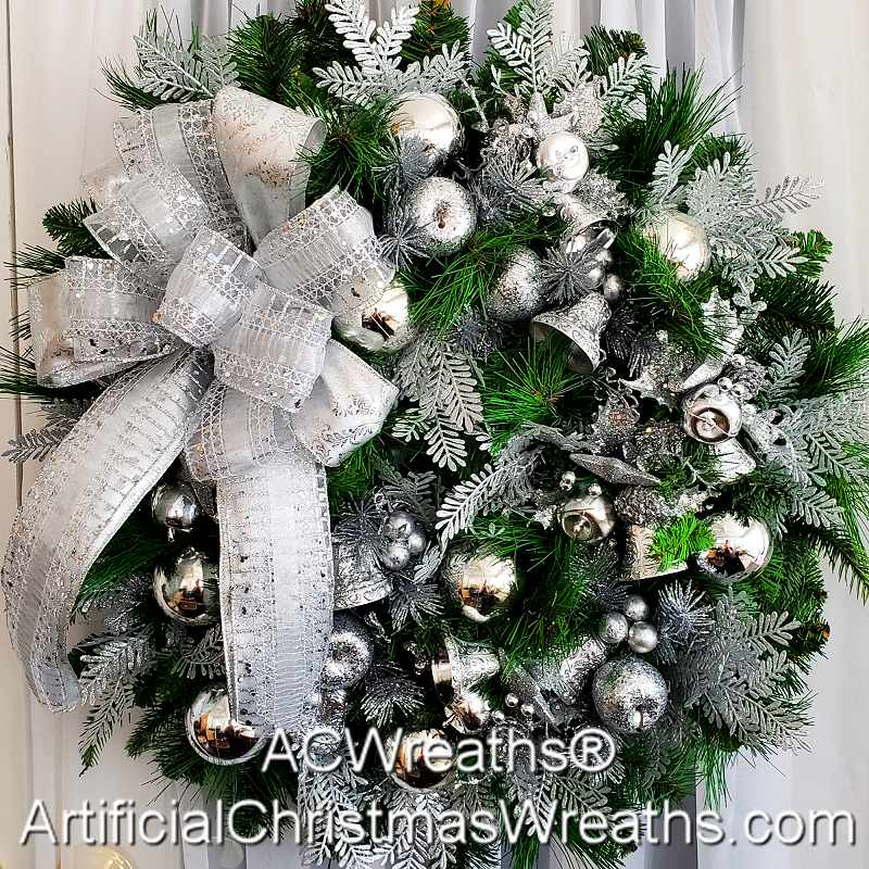 SILVER BELLS CHRISTMAS WREATH | ArtificialChristmasWreaths.com ...