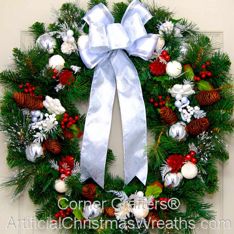 Thin White Christmas Wreath Artificialchristmaswreaths