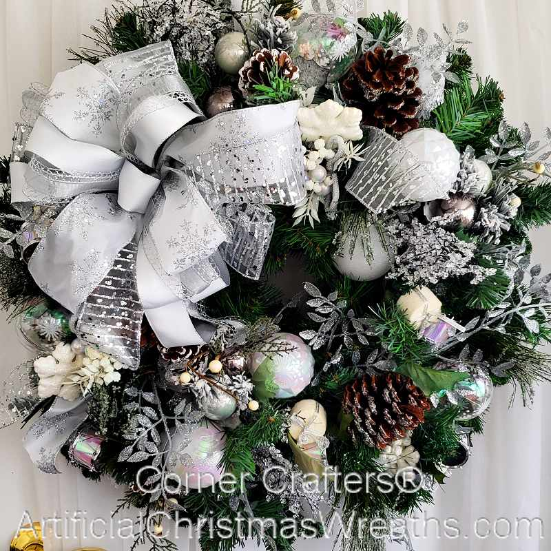 White Christmas Wreath Artificialchristmaswreaths Com