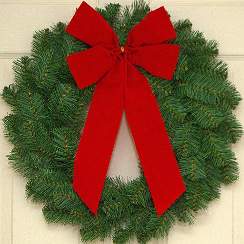"10 Wholesale Wreaths (20"") and 10 Red Bows"