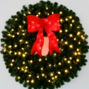 3 foot 36 inch incandescent christmas wreath with pre lit red bow - Large Christmas Wreath