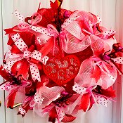 Deco Mesh Valentine Wreath