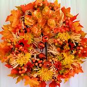 Fall Jack-O-Lantern Jingle Bell Wreath
