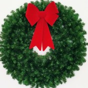 3 Foot (36 inch) Christmas Wreath (without lights) with Large Red Bow