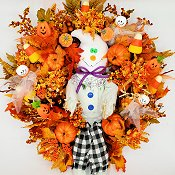 Friendly Halloween Ghost Wreath