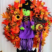 Friendly Halloween Witch Wreath