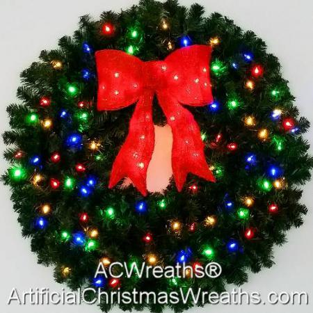 3 Foot (36 inch) Color Changing L.E.D. Prelit Christmas Wreath with Pre-lit Red Bow