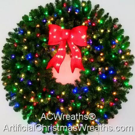 4 Foot (48 inch) Inc. Multi Color Christmas Wreath with Pre-lit Red Bow