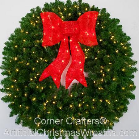 4 Foot (48 inch) L.E.D. Christmas Wreath with XL Pre-lit Red Bow