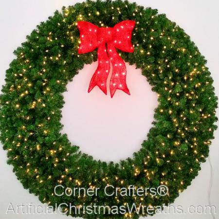 6 Foot (72 inch) Incandescent Christmas Wreath with Pre-lit Red Bow