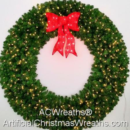 6 Foot (72 inch) L.E.D. Christmas Wreath with Pre-lit Red Bow