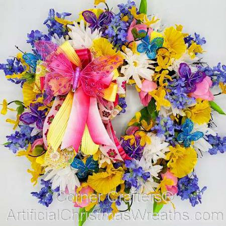 Floral Butterfly Wreath
